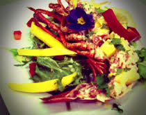 Fresh lobster from St.Andrews Bay this morning, with herbs and flowers from our garden and sweet Mexican mango. Yumyum!